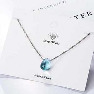 NEW 925 Sterling Silver Crystal Waterdrop Necklace